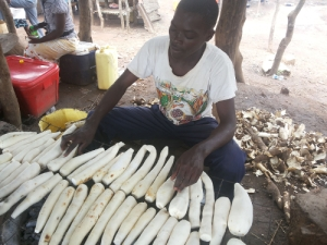 A Cassava dealer at Kafu Bridge in Western Uganda.